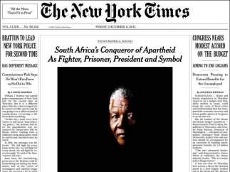 'The New York Times' informa del fallecimiento de Mandela