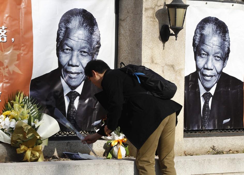 Flores por Mandela en Pekín