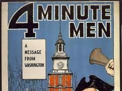 Uno de los carteles de la época que anunciaba los discrusos de los Four Minute Men.