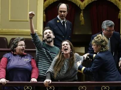 Las protestas antidesahucios han llegado varias veces al interior del Congreso.