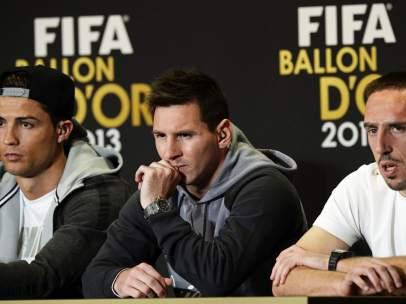Cristiano Ronaldo, Lionel Messi y Franck Ribery