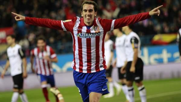 Godín celebra su gol ante el Valencia en la Copa