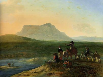 'Weite südliche Landschaft mit Hirten und ihrer Herde', um 1675