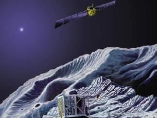 La sonda Rosetta y el m�dulo Philae, en el cometa Churyumov-Gerasimenko.