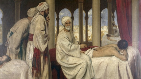 Albucasis (Al-Zahwari) blistering a patient in the hospital at Cordova, 1100 AD