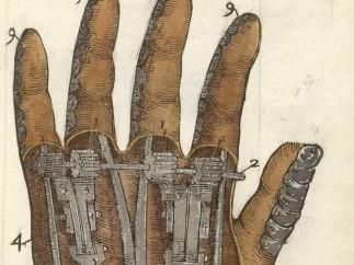 Illustration of mechanical hand, 1564