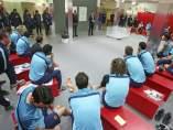 Josep María Bartomeu visita al plantilla del Barça
