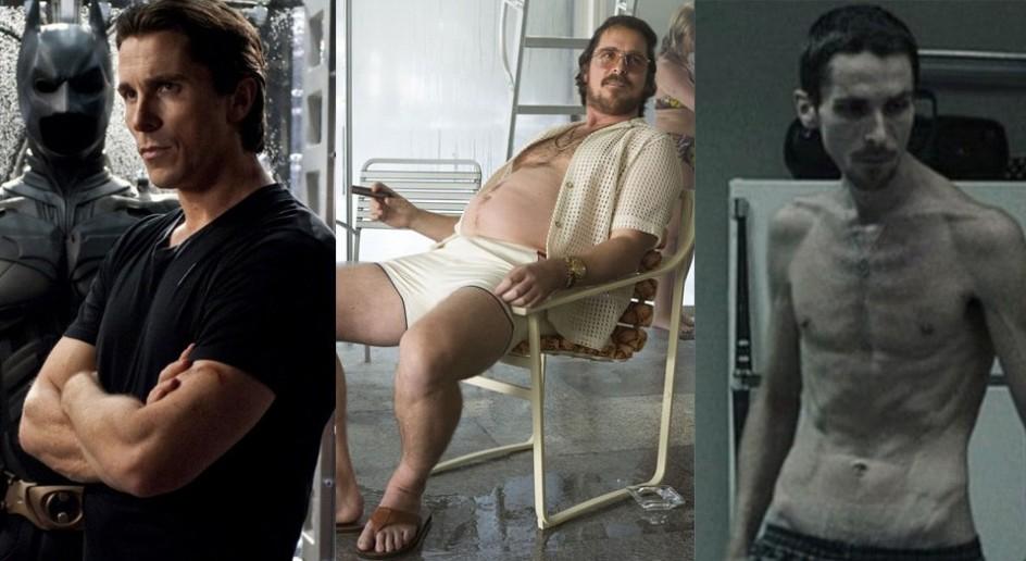 Christian Bale. Tiene fama de vivir intensamente sus papeles y de meterse en el personaje hasta extremos peligrosos. Christian Bale adelgazó casi 30 kilos para El maquinista (derecha), se puso cachas para ser Batman (izquierda) y se ha abandonado del todo para convertirse en un criminal de poca monta en La gran estafa americana (centro).