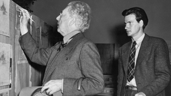 'Frank Lloyd Wright and his assistant Eugene Masselink installing the exhibition Frank Lloyd Wright: American Architect at The Museum of Modern Art', November 13, 1940–January 5, 1941