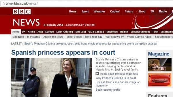 La BBC se hace eco de la declaración de la infanta