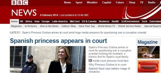 La BBC se hace eco de la declaraci�n de la infanta