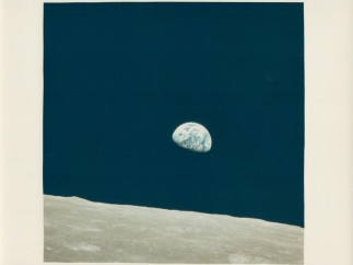 'Earthrise, the first ever witnessed by human eyes'. 'Apollo 8'. December 1968
