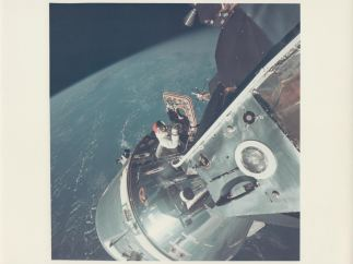 'David Scott climbs out of the Command Module'. 'Apollo 9', March 1969