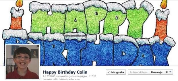 P�gina para felicitar a Colin