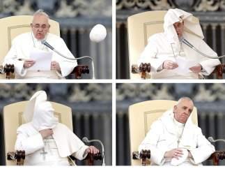 El viento se la juega al papa Francisco