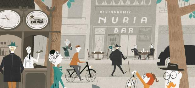 Il·lustració que representa la dècada dels anys trenta del segle passat a la Rambla i que decorarà el nou interior del reformat Bar Núria.