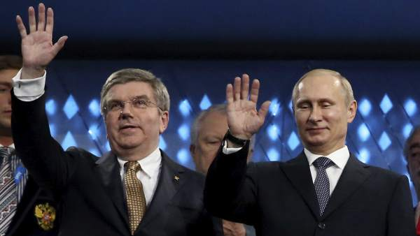 Thomas Bach y Vladimir Putin