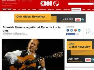 "CNN: ""Muere el guitarrista flamenco Paco de Lucía"""