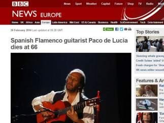 """BBC: """"Paco de Lucía fallece a los 66 años"""""""