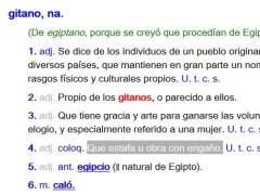 La palabra 'gitano'