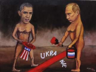 Caricatura de Obama y Putin