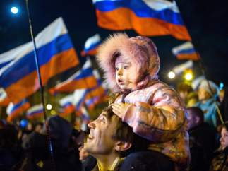 Padre e hija en Simferopol