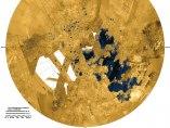 Imagen de los lagos y mares del polo norte de Titán, luna principal de Saturno.