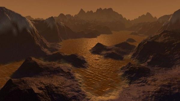 Recreación de la superficie de Titán