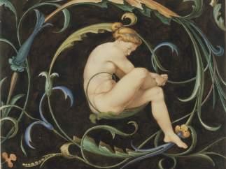 'Weiblicher Akt in einer Ranke', um 1834