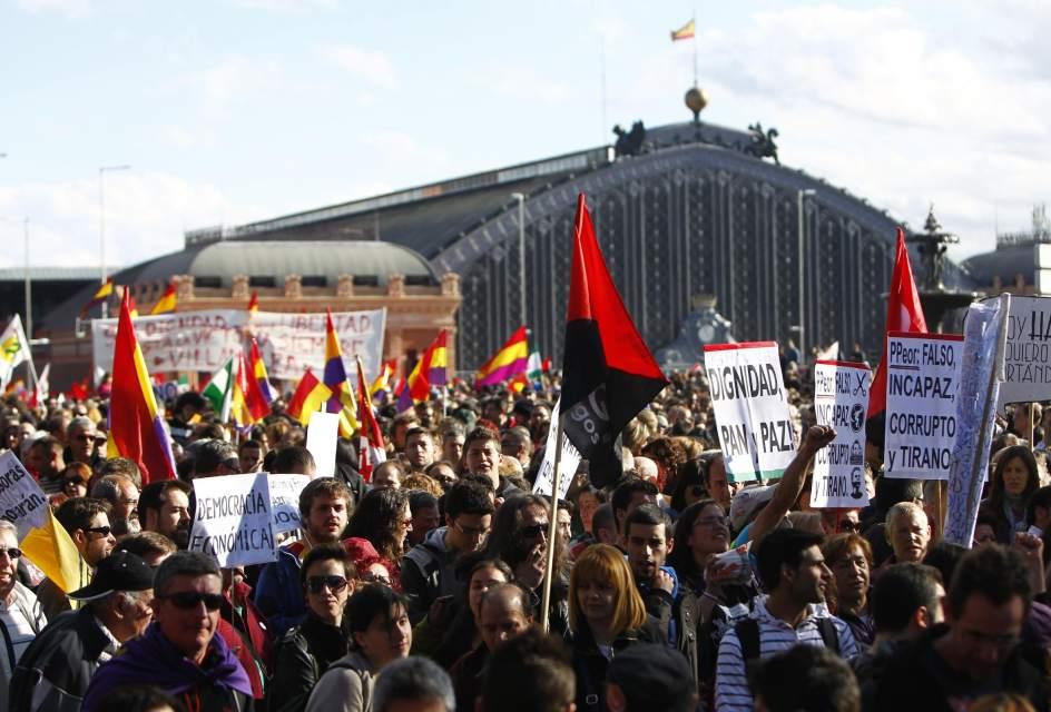 Manifestantes en Atocha