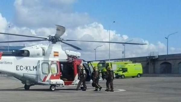 Evacuación del incendio del barco en Tarragona