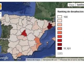 Mapa de desahucios en 2013