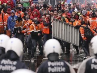 Batalla campal en el centro de Bruselas