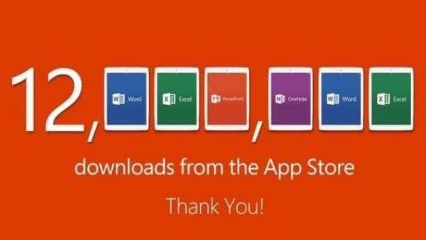 Microsoft alcanza 12 millones de descargas de Office para iPad