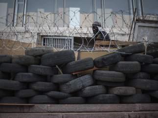 Manifestante prorruso en Donetsk