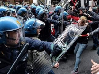 Disturbios en Turín