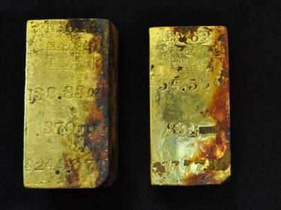 Lingotes de oro recuperados del Odyssey