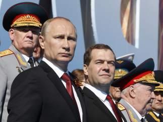 Putin y Medvédev.