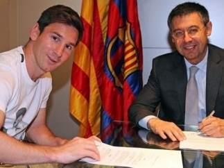 Messi firma su nuevo contrato