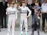 Hamilton, Rosberg y Ricciardo