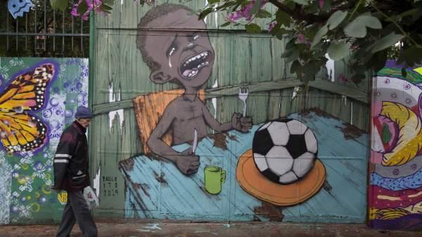 Pintada mural contra el Mundial de Brasil