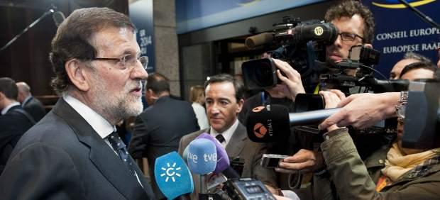 Rajoy atiende a la prensa en Bruselas