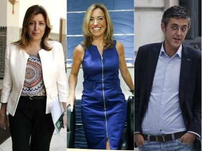 Susana Díaz, Carme Chacón y Eduardo Madina