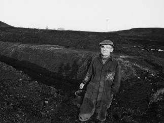 Retired miner picking coal on a spoil heap at Kiveton Park Colliery South Yorkshire, 1984