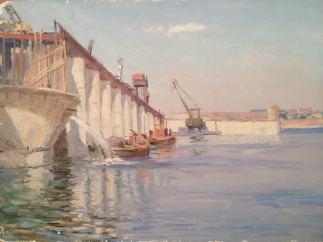 'Kakhovka hydro power plant', 1955