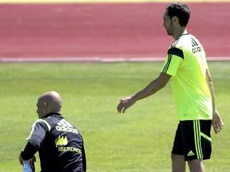 Juanfran y Diego Costa, con la selección