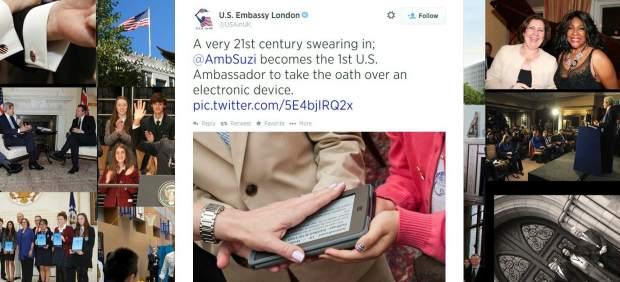La embajadora de Estados Unidos en Suiza jura su cargo sobre un 'Kindle'