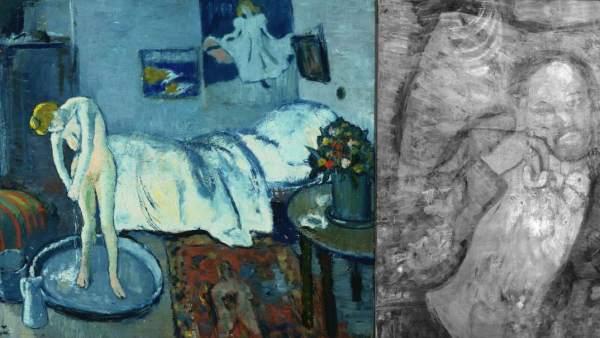 """'La habitación azul' (i) de Picasso y su """"cuadro fantasma"""" (d)."""