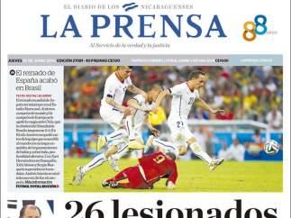 La eliminación de España en el Mundial, en la prensa