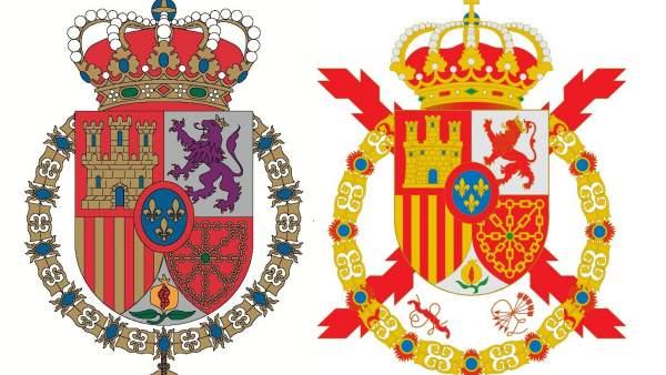 El nuevo escudo de Felipe VI y el de su padre Juan Carlos I